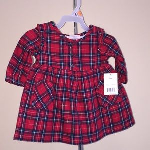 George Baby Girls Holiday Red Flannel Dress 3-6 M